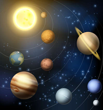 Planet: Una ilustración de los planetas en órbita alrededor del sol en el sistema solar, incluyendo el planeta enano Plutón