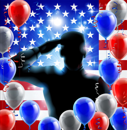 heros: Patriotic soldier or veteran saluting in front of an American flag fourth July or independence day background with red white and blue balloons and ribbons