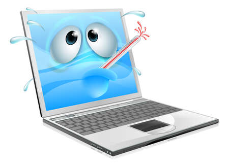 cold virus: Broken cartoon laptop computer, cartoon of an unwell laptop computer with a bursting thermometer in its mouth. Could be a broken laptop computer or one that has a virus or other malware Illustration