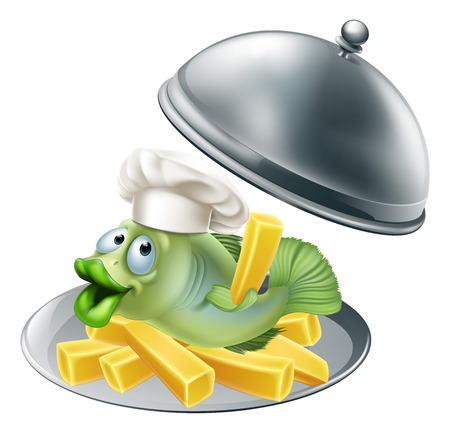 cloche: An illustration of fish chef mascot and chips on a silver serving platter Illustration