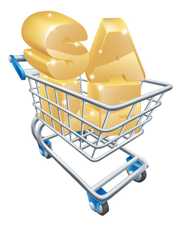 pushcart: Sale shopping cart concept of a trolley with the word SALE in it