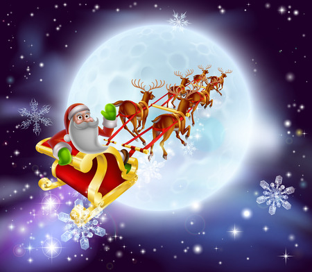 clause: Christmas cartoon illustration of Santa clause in his sleigh or sled flying in front of a big full moon Illustration