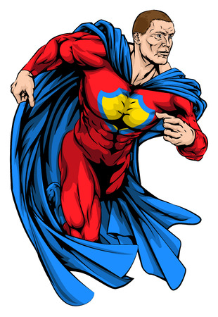 An illustration of muscular superhero character running Vector