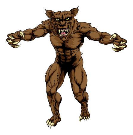 An illustration of a werewolf wolf man, or wolf sports mascot character standing with claws out