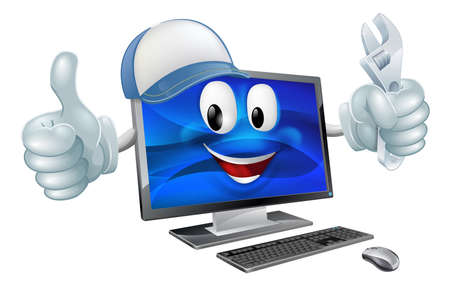 computer screen: A cartoon computer repair mascot with a cap and spanner doing a thumbs up Illustration