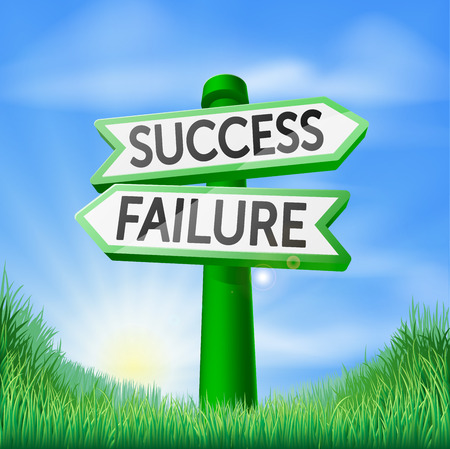 failure sign: Success or failure concept sign of a direction sign in a field pointing out the way to success or failure