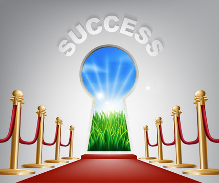 Success Door Keyhole. Concept of a keyhole with a new dawn over verdant landscape and red carpet and ropes leading up to it. Vector