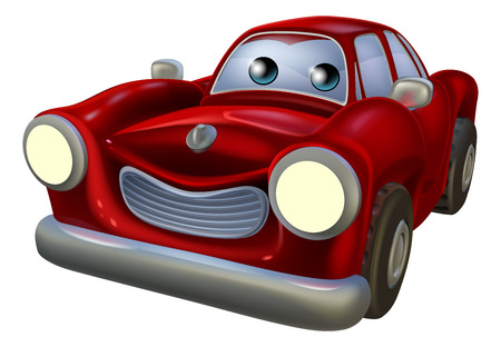 A red cartoon car mascot with a happy expression Vector
