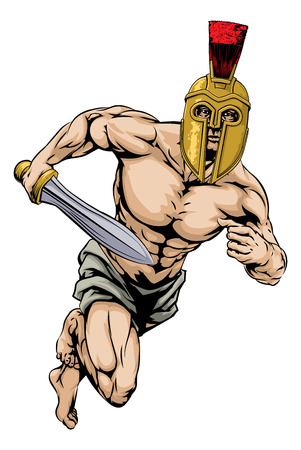 An illustration of a warrior or gladiator character or sports mascot  in a trojan or Spartan style helmet holding a sword Vector