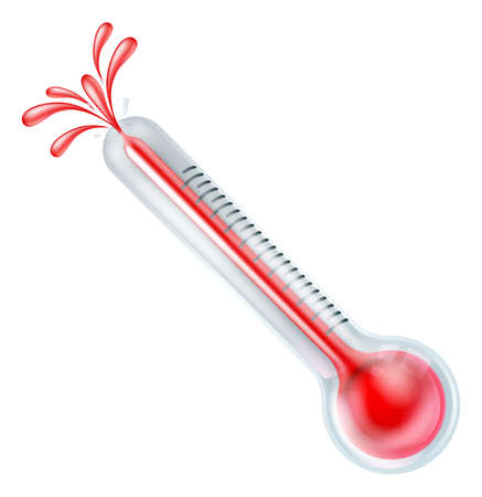 thermometers: An illustration of a hot thermometer in high temperature bursting or exploding