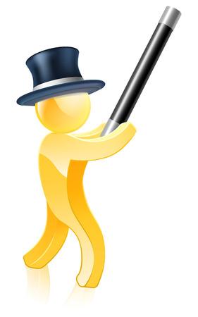 Gold mascot magician illustration of a gold human figure waving a wand Vector