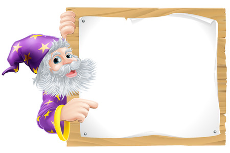 An illustration of a cute wizard mascot and a wooden sign Vector