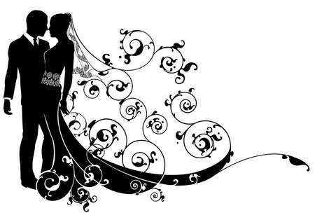 matrimonio feliz: Una ilustración de la boda de una novia y el novio bailando o punto de besar
