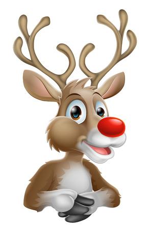 renos de navidad: Una ilustración de una caricatura feliz Navidad del reno