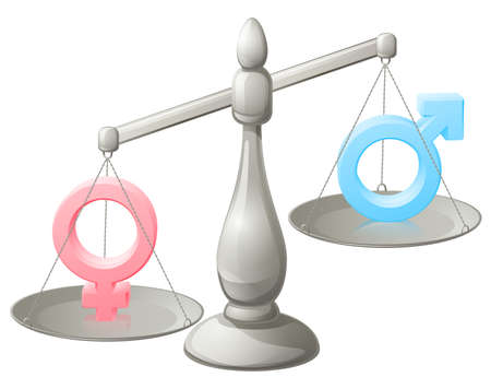 sex symbol: Man woman scales concept with male and female symbols, the female weighing more