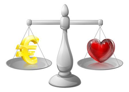 ungleichgewicht: Liebe oder Geld Work Life Balance, Waagen mit einem Euro-Zeichen auf der einen Seite und ein Herz auf der anderen