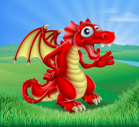 welsh: An illustration of a cartoon red dragon  in a green landscape of rolling hills