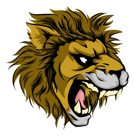 A majestic powerful lion animal character mascot head roaring