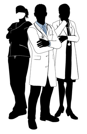 equipe medica: Un gruppo di medici dei medici e chirurghi con camici bianchi e scrub, maschere chirurgiche e stetoscopi in silhouette