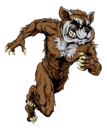 sprinting: A raccoon man character or sports mascot charging, sprinting or running Illustration