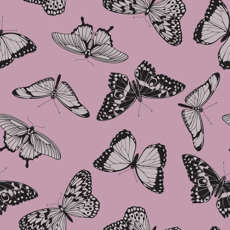 Butterfly seamless vintage background pattern illustration in muted pink tones Vector