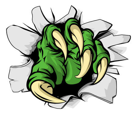 lagrimas: Una ilustración de un monstruo con garras verde rasgadura o ruptura a través de un agujero Vectores