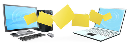 file sharing: Computer phone file transfer concept of files or folders moving between a desktop computer and laptop Illustration