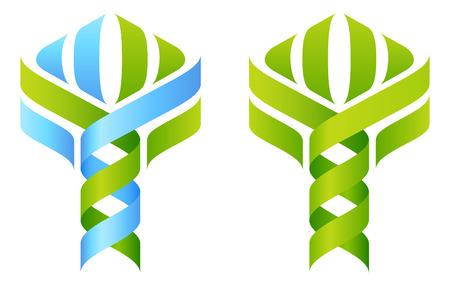 caduceo: Concepto del árbol de ADN de doble hélice de ADN en crecimiento en una forma estilizada de la planta