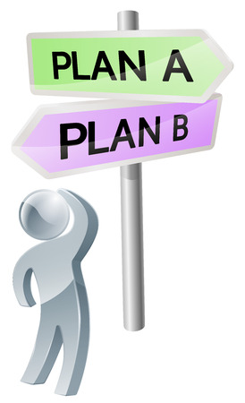 A person with a decision to make looking up at a sign with directions to plan a or plan b Vector