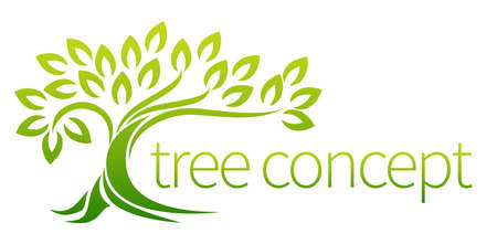tree shape': Tree icon concept of a stylised tree with leaves, lends itself to being used with text Illustration