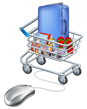 Mouse connected to holiday shopping cart illustration of a computer mouse connected to a trolley full of vacation items. Vector