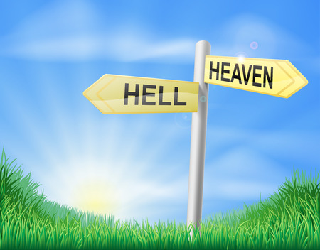 Heaven or hell decision concept sign of a direction sign in a field pointing out the right way and the wrong way Vector