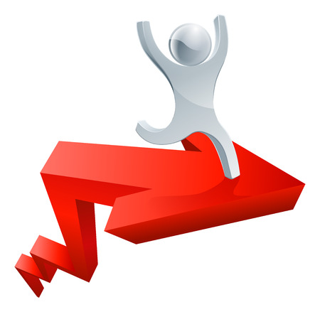 forefront: Financial success concept of a happy man running on a big red upwards moving arrow Illustration