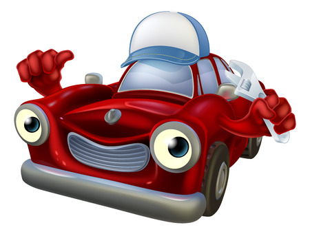 An illustration of a red cartoon car character wearing a baseball cap hat and holding a spanner while giving a thumbs up. Vector