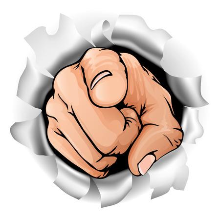 jolie fille: Une illustration d'une main de pointage percer un mur