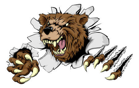 busting: A scary Bear ripping through the background with sharp claws Illustration