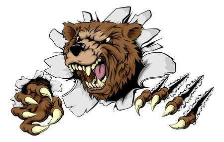 oso caricatura: Un oso temible que rasga a través del fondo con garras afiladas