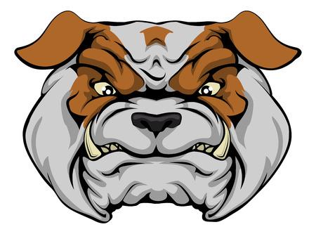 british bulldog: A mean bulldog dog character or sports mascot staring forward