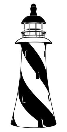 A stylised black and white lighthouse illustration with diagonal stripes