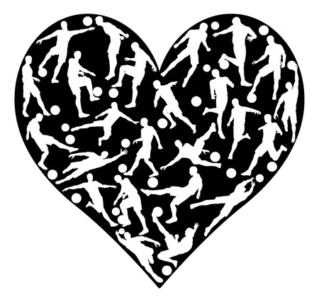 hart shaped: Love soccer concept of lots of football or soccer players in a heart shape