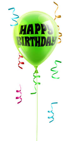 A shiny green balloon with the words Happy Birthday written on it Vector