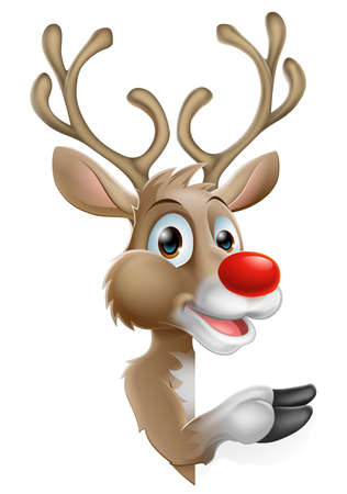 cartoon reindeer: Cartoon Santas Christmas Reindeer peeking around a sign and pointing