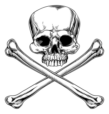 Skull and crossbones illustration in a vintage woodcut style Illustration