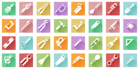 A tool icon set with lots of construction or DIY tools including level, saw and many others in a flat shadow style Vector