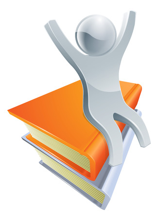 Books character illustration with a happy silver man on top of books Vector