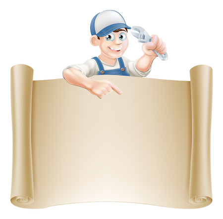 spaner: A plumber or mechanic holding an adjustable spanner or wrench and peeking over a scroll banner and pointing Illustration