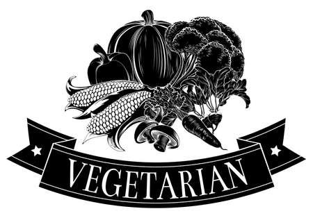 grocer: Vegetarian food icon of fresh vegetables and banner reading vegetarian