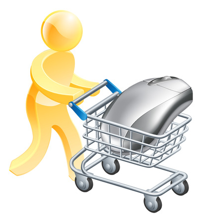 troley: A man pushing shopping cart or trolley with a computer mouse. Concept for internet shopping online or buying computers