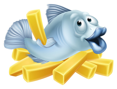 Fish and chips illustration of a happy fish character lying n chips or French fries and holding one