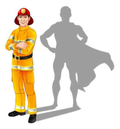 brandweer cartoon: Held brandweerman concept, illustratie van een zelfverzekerde knappe brandweerman of brand officer staat met zijn armen gevouwen met superhelden schaduw